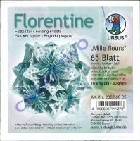 Florentine Faltblätter Mille fleurs 10x10cm 65 Blatt blau/hellblau