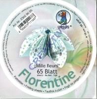 Florentine Faltblätter Mille fleurs 10cm rund 65 Blatt blau/hellblau