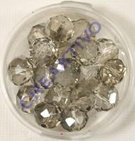 Glasschliffperle 10mm elliptisch 18 Stück black diamond