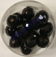 Glasschliffperle satt schwarz 10mm 15 Stück