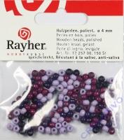 Rayher Holzperlen, poliert 4mm 150St Lila-Töne (Restbestand)