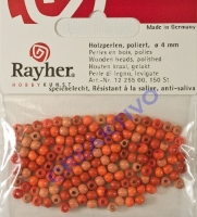 Rayher Holzperlen, poliert 4mm 150St Orange-Töne (Restbestand)