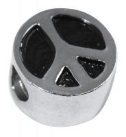 Rockstars Metall-Zierelement-Peace silber 12 mm Großloch