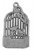 Rockstars Metall-Anhänger Vogelkäfig altsilber 26 mm