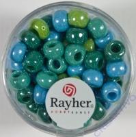 Rayher Glas Großlochradl opak 6,7mm grün-blau Töne