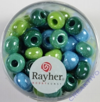 Rayher Glas Großlochradl opak 8,7mm grün-blau Töne