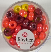 Rayher Glas Großlochradl opak 6,7mm rot-gelb Töne