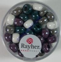 Rayher Glas Großlochradl opak 6,7mm grau lila weiß Töne