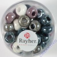 Rayher Glas Großlochradl opak 8,7mm grau lila weiß Töne