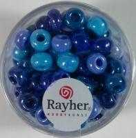 Rayher Glas Großlochradl opak 6,7mm blau-türkis Töne