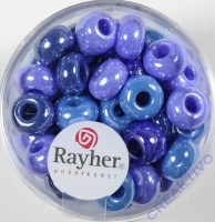 Rayher Glas Großlochradl opak 8,7mm blau-türkis Töne