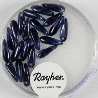 Rayher Glasperle Reiskorn 3x11mm nachtblau