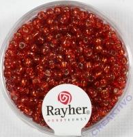 Rocailles 2,6mm ø mit Silbereinzug rot