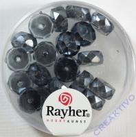 Rayher Glasperle Radl 4x8mm anthrazit