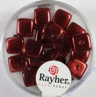 Rayher Glasperle Würfel 8x9mm burgund