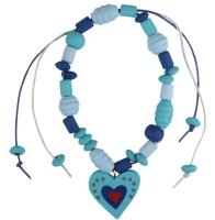 Kids Club Holzperlenset Blütenzauber blau