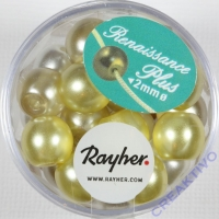 Renaissance Glaswachsperlen Großloch halbtransp. 10mm weiß/beige Mix