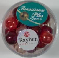 Renaissance Glaswachsperlen Großloch halbtransp. 10mm rot Mix