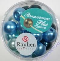 Renaissance Glaswachsperlen Großloch halbtransp. 10mm türkis Mix