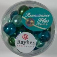 Renaissance Glaswachsperlen Großloch halbtransp. 10mm grün Mix