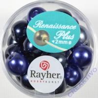 Renaissance Glaswachsperlen Großloch halbtransp. 10mm blau Mix