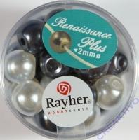 Renaissance Glaswachsperlen Großloch halbtransp. 10mm weiß/grau Mix