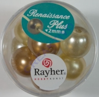 Renaissance Glaswachsperlen Großloch halbtransp. 14mm weiß/beige Mix