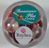 Renaissance Glaswachsperlen Großloch halbtransp. 14mm rot Mix