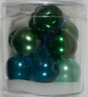 Renaissance Glaswachsperlen Großloch halbtransp. 14mm grün Mix