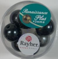 Renaissance Glaswachsperlen Großloch halbtransp. 14mm weiß/grau Mix