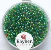 Rocailles 2 mm ø transp. gelüstert grün