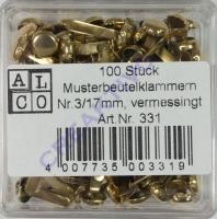 100 Stück Musterbeutelklammern Nr.3/17mm, vermessingt